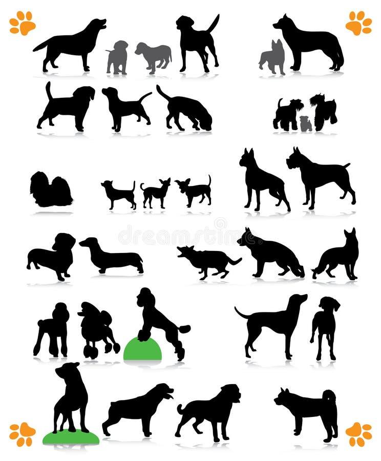 De reeks van hondsilhouetten royalty-vrije stock fotografie
