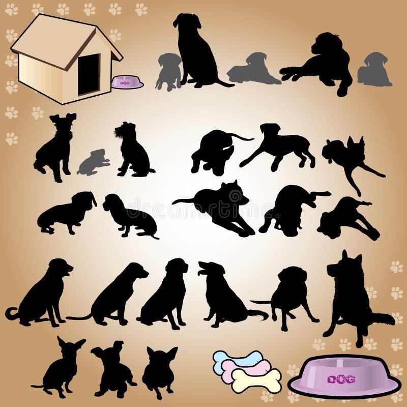 De reeks van hondsilhouetten stock foto
