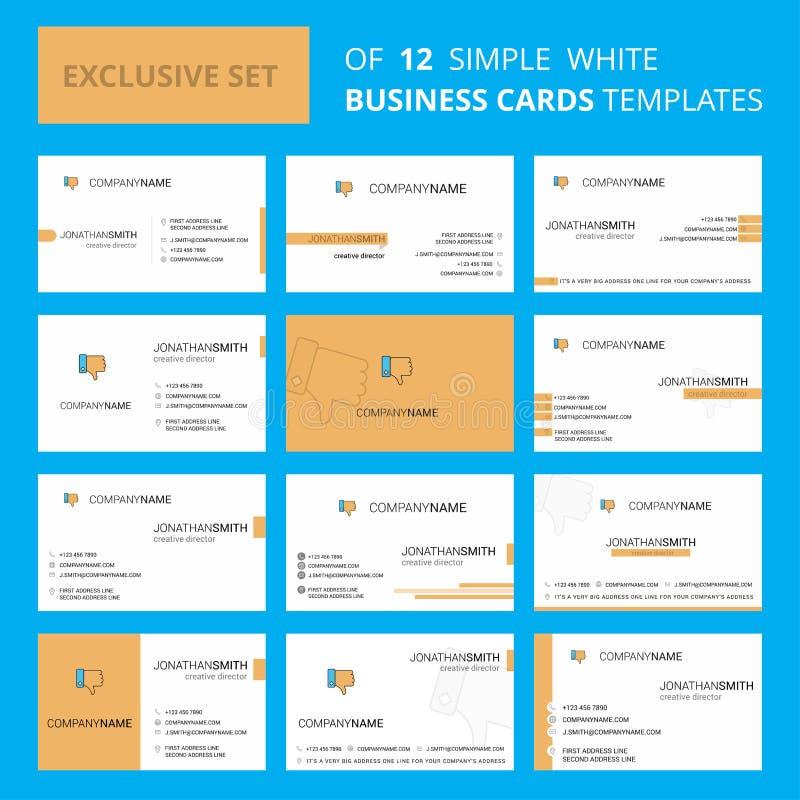 De reeks van 12 houdt niet van Creatief Busienss-Kaartmalplaatje Editable Creatieve embleem en Visitekaartjeachtergrond stock illustratie