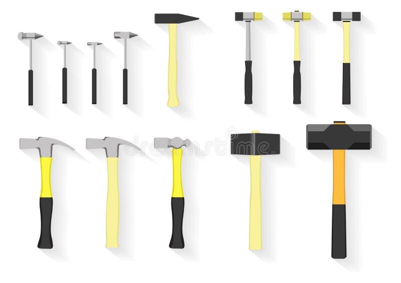 De reeks van hulpmiddelen hamerhulpmiddelen op witte achtergrond stock afbeeldingen