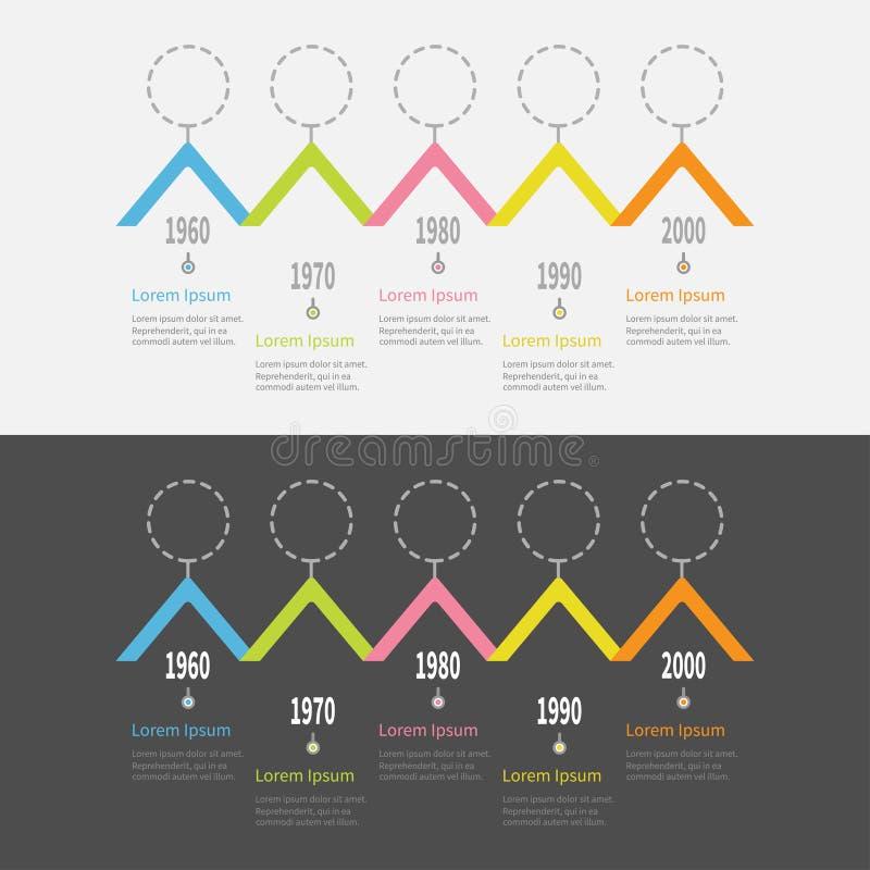 De reeks van Infographic van de vijf stapchronologie Het kleurrijke segment van de het dakvorm van de driehoekshoek Streepjelijn  stock illustratie
