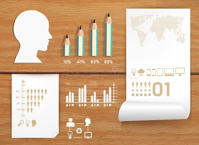 De reeks van Infographics en het onderwijsconcept van de Informatie stock illustratie