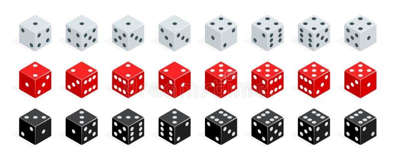 De reeks van isometrisch dobbelt combinatie De rode, witte en zwarte vector van pookkubussen Inzameling van het gokken app en stock illustratie