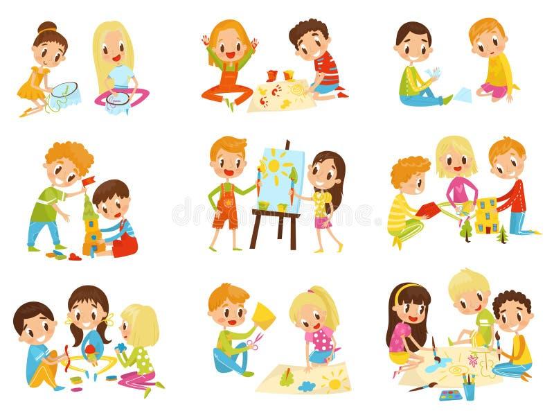 De reeks van de jonge geitjescreativiteit, de creativiteit, onderwijs en ontwikkelingsconcepten vectorillustraties van kinderen o royalty-vrije stock afbeeldingen