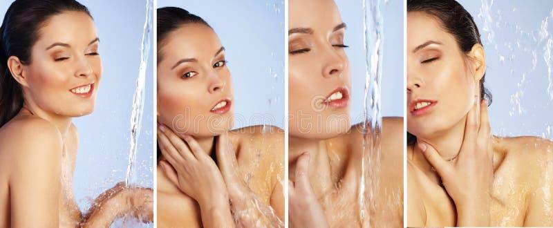 De reeks van jonge vrouw geniet van douche stock afbeelding
