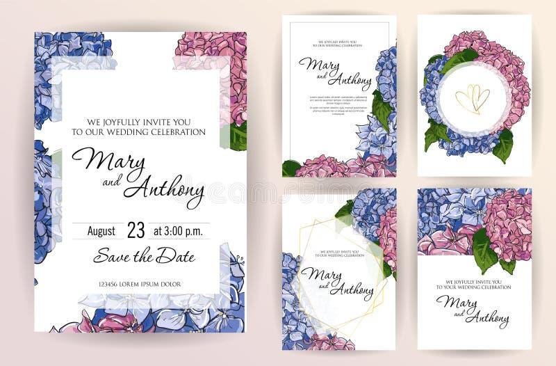 De reeks van de kaart van de huwelijksuitnodiging bloeit hydrangea hortensia A5 de ontwerpsjabloon van de huwelijksuitnodiging op royalty-vrije illustratie