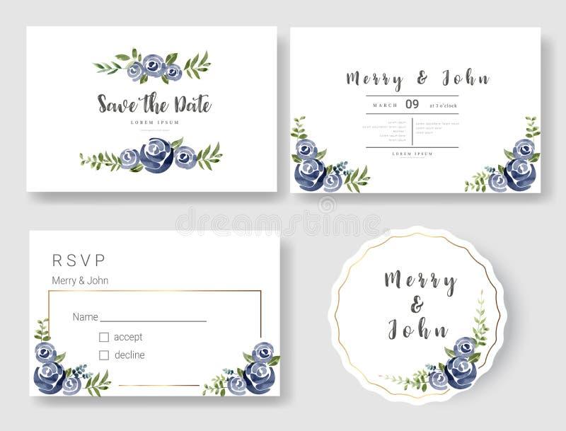 De reeks van de Kaart van de Huwelijksuitnodiging, sparen de datum dankt u kaardt, rsvp met bloemen en bladeren, waterverfstijl v royalty-vrije illustratie