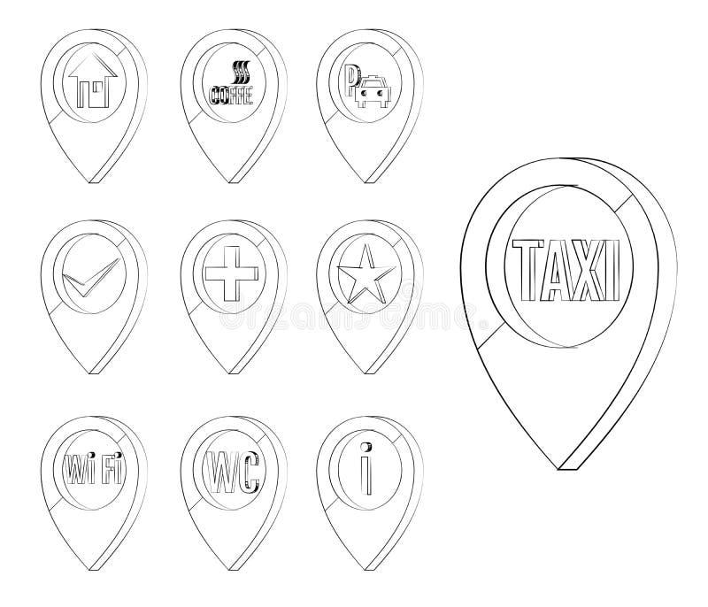 De reeks van de kaartteller Tellers om een plaats op een kaart te identificeren, het tonen stock illustratie