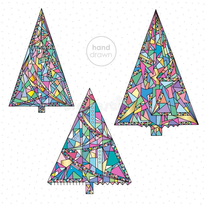 De reeks van de kerstboom Hand getrokken Kerstmis vectorillustraties van de de wintervakantie De abstracte Gelukkige achtergrond  vector illustratie