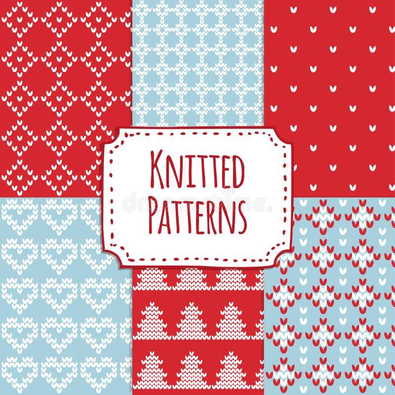 De reeks van Kerstmis breide naadloze patronen, Skandinavisch ontwerp, stock illustratie