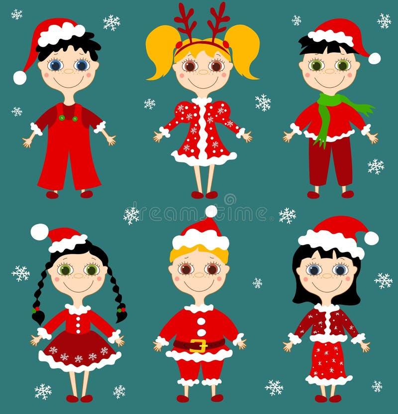 De reeks van Kerstmis chilgren. vector illustratie