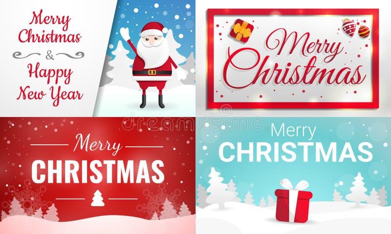 De reeks van de Kerstmisbanner, beeldverhaalstijl royalty-vrije illustratie