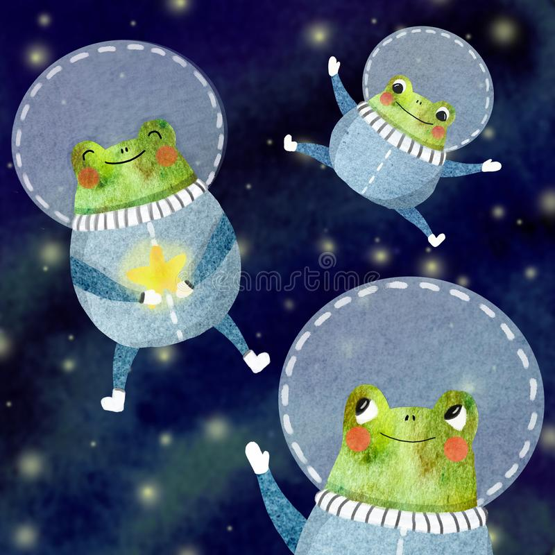 De reeks van kinderen van een vrolijke astronaut royalty-vrije illustratie