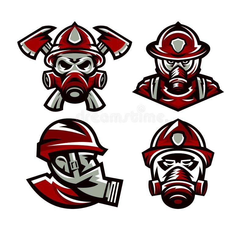 De reeks van kleurrijk emblemenbrandweerkorps, brandweerman, schedel, maskerbrandbestrijder, assen, isoleerde vectorillustratie s stock illustratie