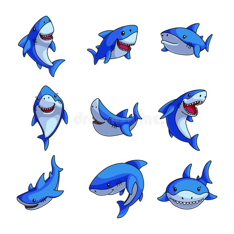 De reeks van kleurrijke blauwe haai in verschillende grappig stelt royalty-vrije illustratie