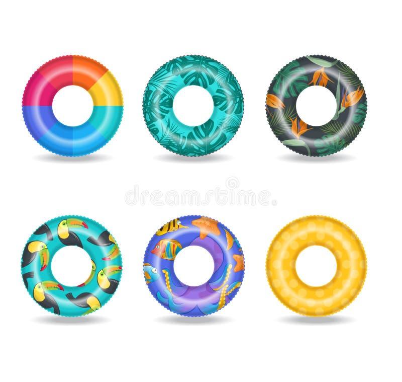 De reeks van kleurrijke opblaasbaar zwemt ringen royalty-vrije illustratie