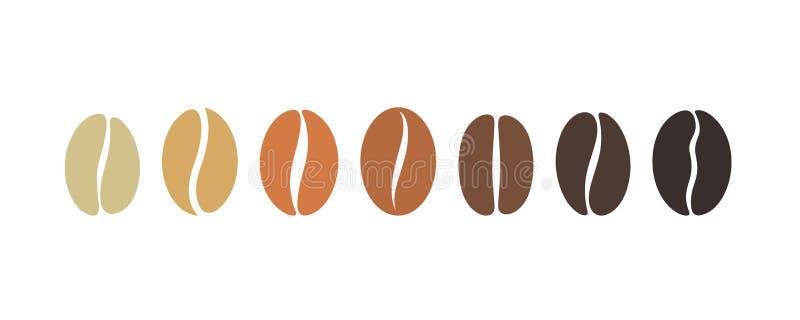 De reeks van de koffieboon Geïsoleerde coffe bonen op witte achtergrond vector illustratie