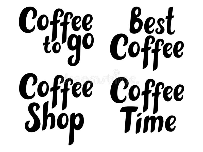De reeks van koffiehand schetste van letters voorziende affiche, borstelkalligrafie Voor logotype, kenteken, pictogram, kaart, pr vector illustratie