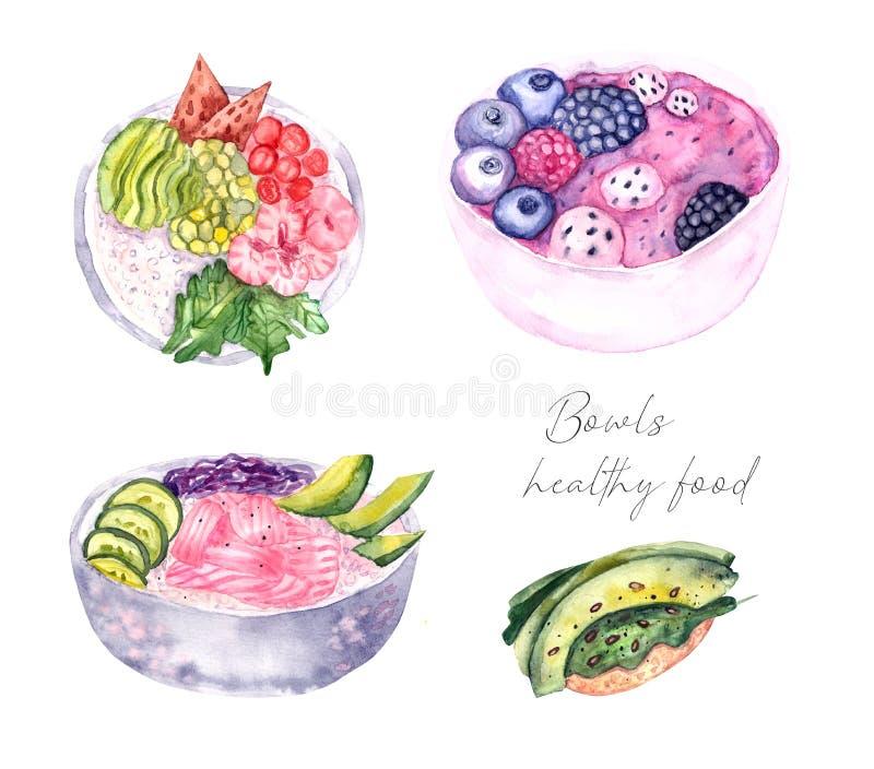 De reeks van de kommenwaterverf, Gezond voedsel vector illustratie