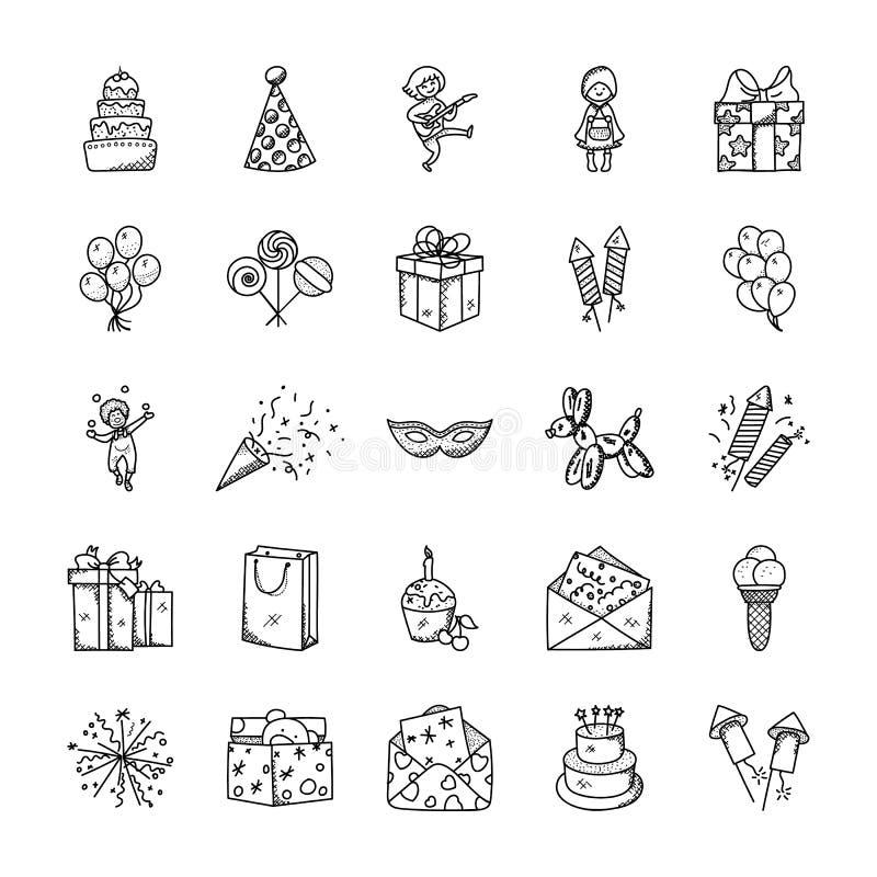 De Reeks van krabbelpictogrammen van Viering en Partij stock illustratie