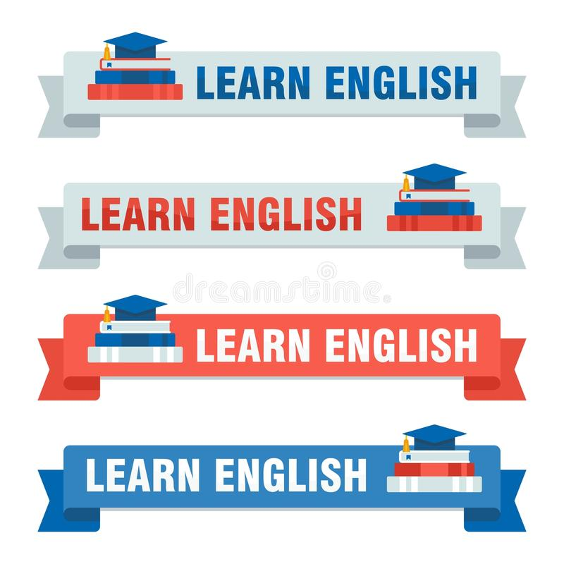 De reeks van leert Engelse baners vector illustratie