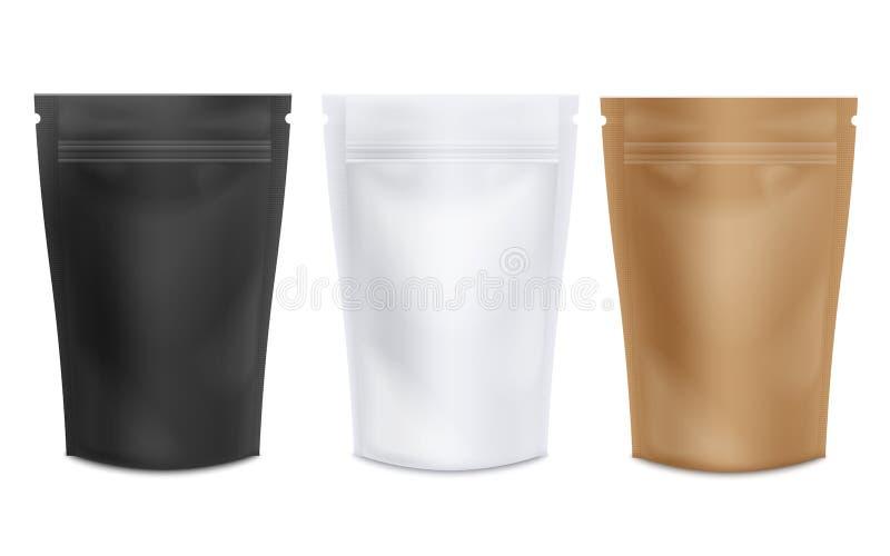 De reeks van lege realistische koffie of de thee staat zakmodellen op vector illustratie