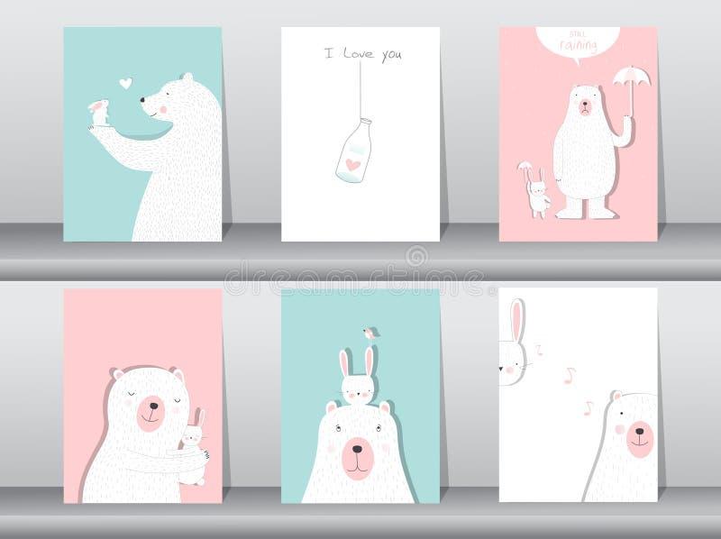 De reeks van leuke dierenaffiche, Ontwerp voor valentijnskaart` s dag, malplaatje, kaarten, draagt, Vectorillustraties vector illustratie
