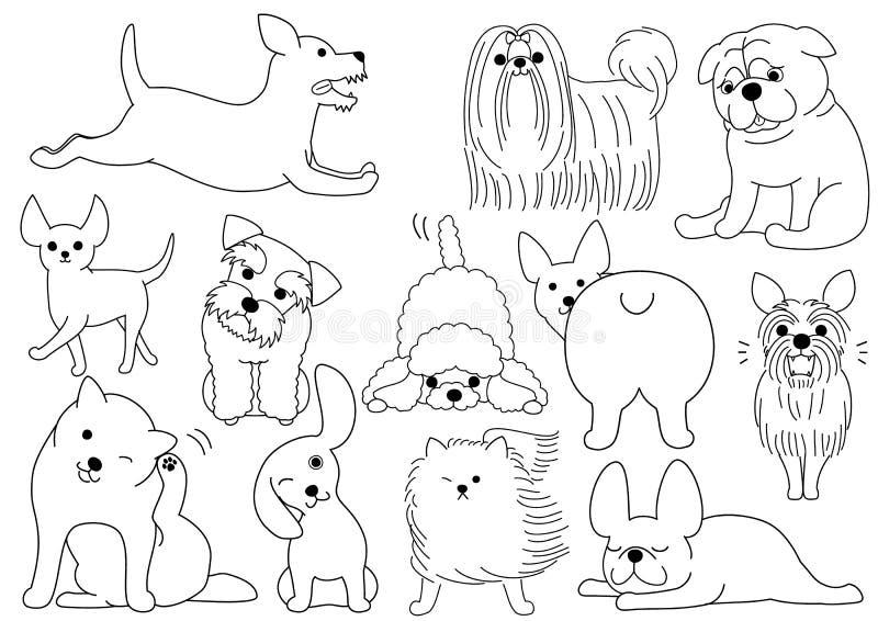 De reeks van de de lijnkunst van de hondkrabbel royalty-vrije illustratie