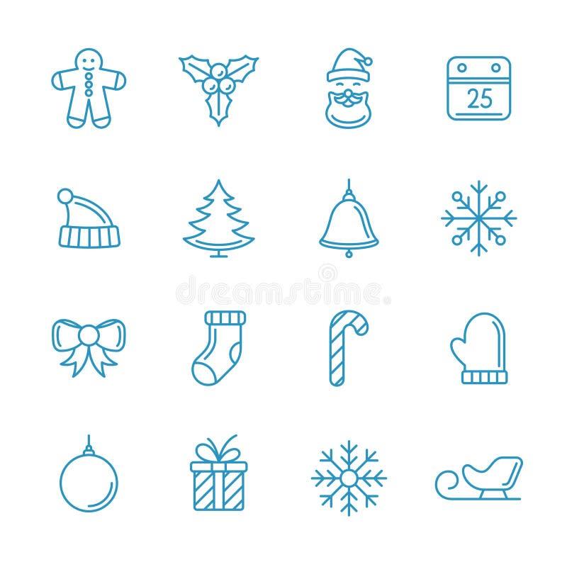 De reeks van de de lijnkunst van Kerstmispictogrammen Vector uitstekende illustratie stock illustratie
