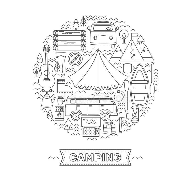 De reeks van lijnpictogrammen van het kamperen vector illustratie