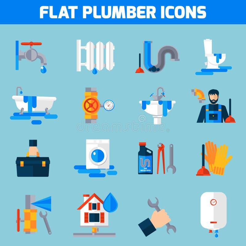 De Reeks van loodgieterservice flat icons royalty-vrije illustratie