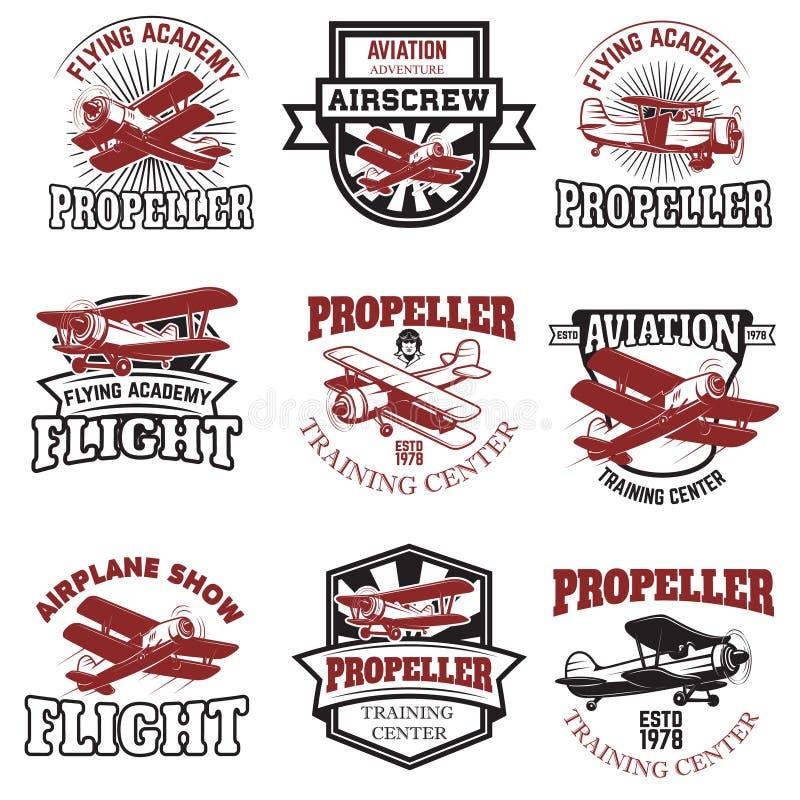 De reeks van Luchtmacht, vliegtuig toont, vliegend academieemblemen wijnoogst royalty-vrije illustratie
