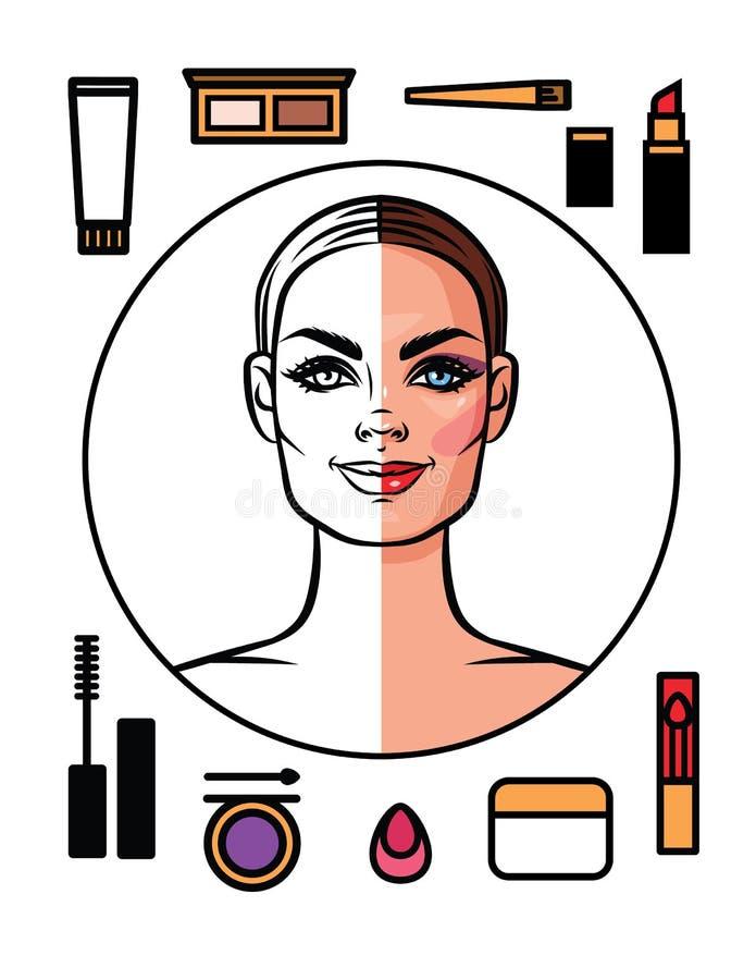De reeks van maakt omhoog pictogrammen bij vlakke die stijl van witte achtergrond wordt geïsoleerd vector illustratie