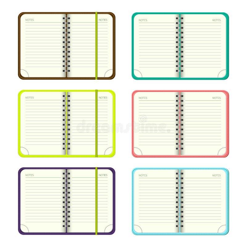 De reeks van Malplaatje opent een lege blocnote Vector persoonlijke organisator met een kleurrijke dekking en een referentie Op w royalty-vrije illustratie