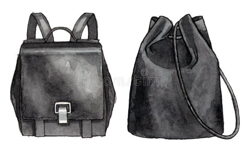 De reeks van de manierillustratie van zwarte rugzak twee royalty-vrije stock afbeeldingen