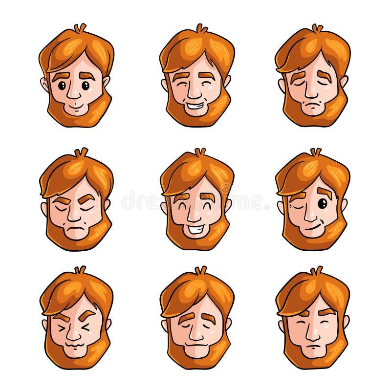 De reeks van mensenroodharige in verschillend stelt en gezichtsemoties vector illustratie