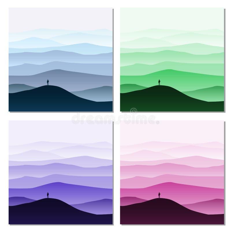 De reeks van Minimalistic-berglandschap, silhouetten, opent uw wereld, eenzame ontdekkingsreiziger, horizon, perspectief, vector royalty-vrije illustratie