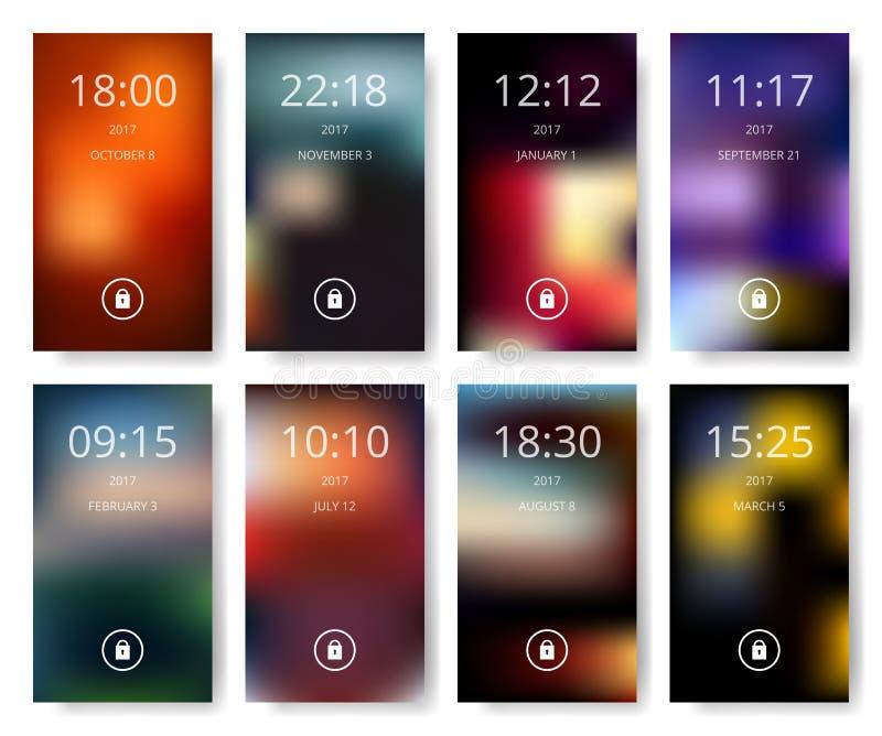 De reeks van modern gebruikersinterface, ux, ui onderzoekt behang voor slimme telefoon Mobiele Toepassing, mobiel behang, vectori stock illustratie