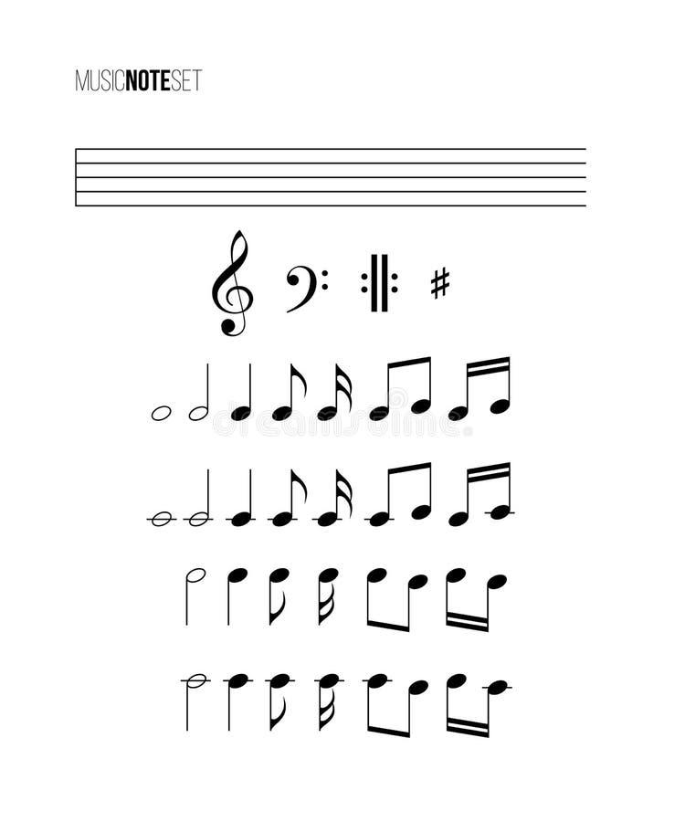 De reeks van de muzieknota Vector verschillende muzieknota's, staaf, drievoudige en bassleutels vector illustratie
