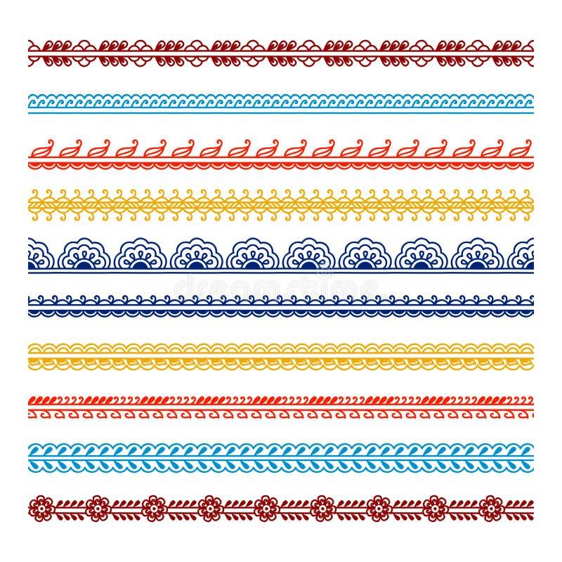 De reeks van negen bloeit decoratieve elementen royalty-vrije illustratie