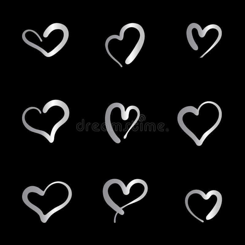 De reeks van negen overhandigt getrokken hart Zilveren Handdrawn vector illustratie