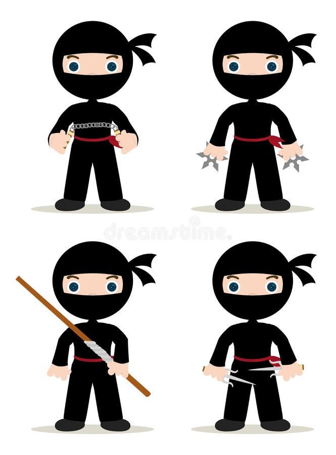 De reeks van Ninja vector illustratie