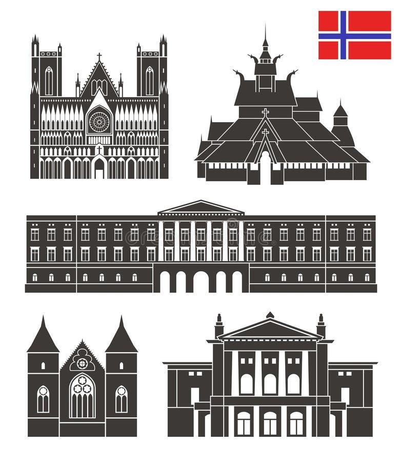 De reeks van Noorwegen De geïsoleerde architectuur van Noorwegen op witte achtergrond royalty-vrije illustratie