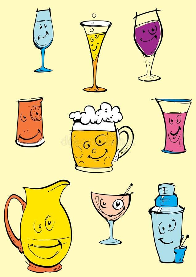 De reeks van objecten - glazen clipart vector illustratie