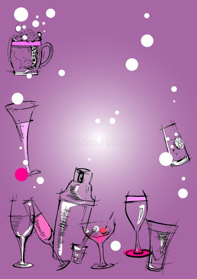 De reeks van objecten - glazenachtergrond vector illustratie