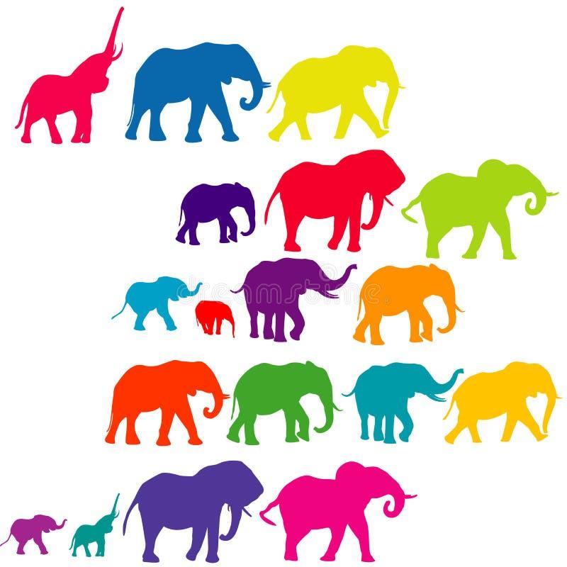 De reeks van olifant kleurde silhouetten royalty-vrije illustratie