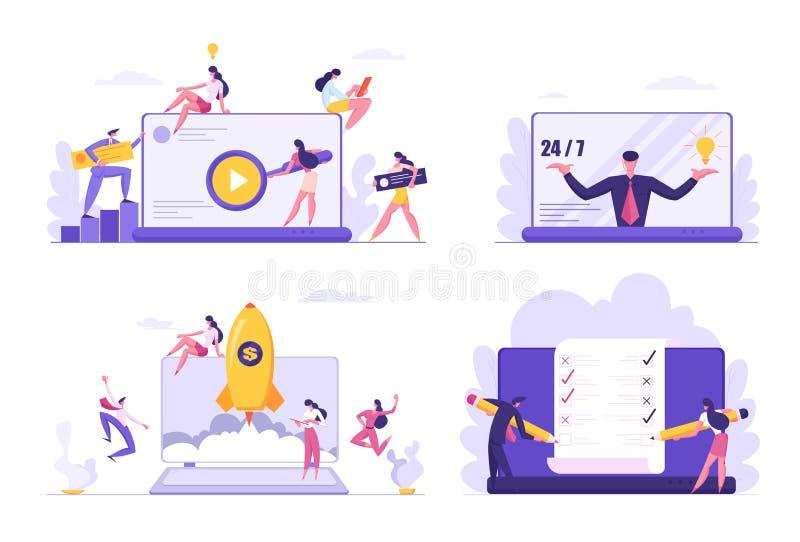 De reeks van Ontwikkelaarsgroep maakt Toepassing, Plaatsontwerp, Klantenondersteuningshulp, Zakelijk projectopstarten vector illustratie