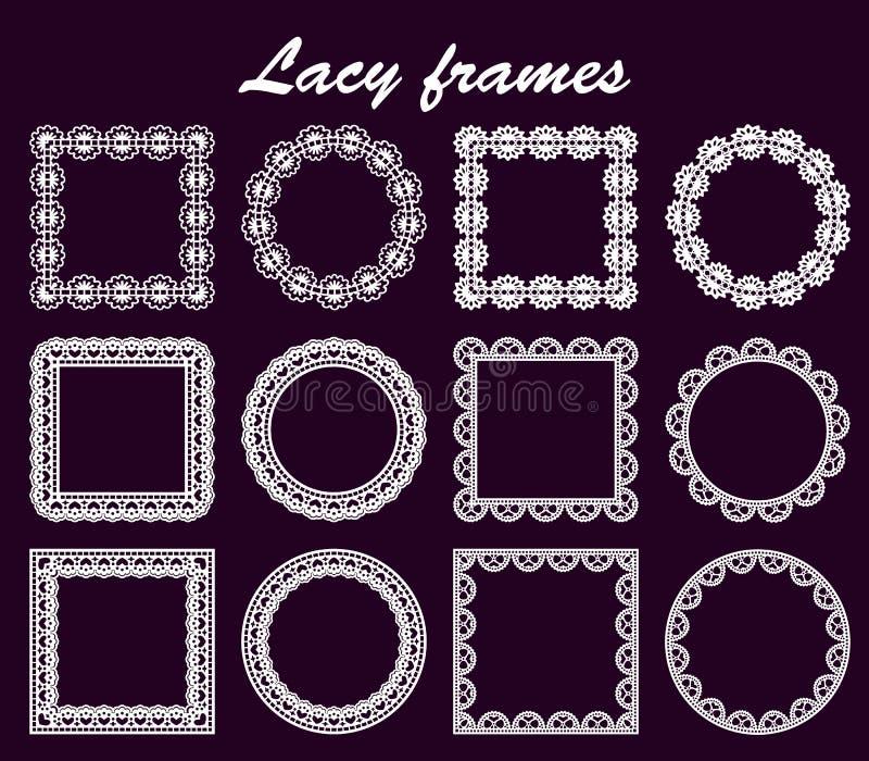 De reeks van openwork ronde en vierkante grenzendocument doily onder de cake, malplaatje voor knipsel, huwelijksuitnodiging, deco stock illustratie