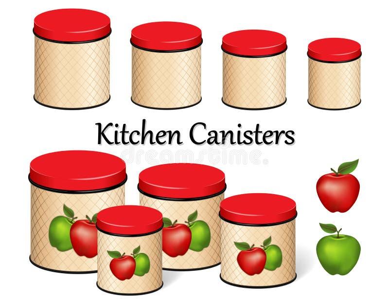 De Reeks van de de Opslagbus van het keukenvoedsel, Rode en Groene Appelen, rooster achtergrondontwerp, vier grootte vector illustratie