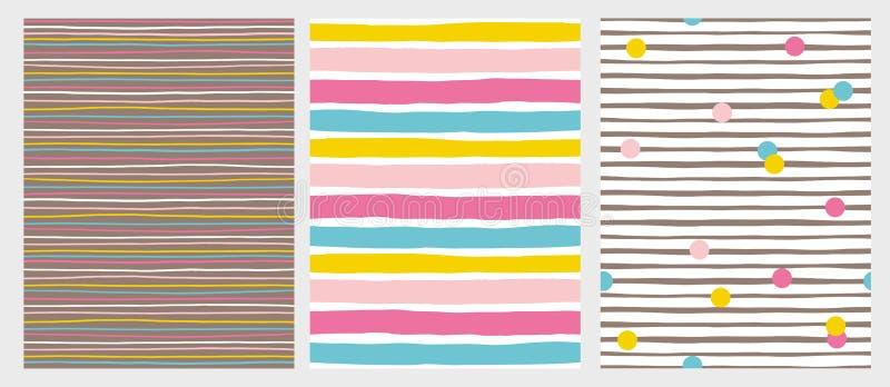 De reeks van 3 overhandigt Getrokken Onregelmatige Gestreepte Vectorpatronen Kleurrijke Strepen en Punten stock illustratie